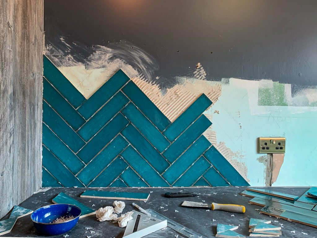 herringbone teal tiles in our renovated kitchen