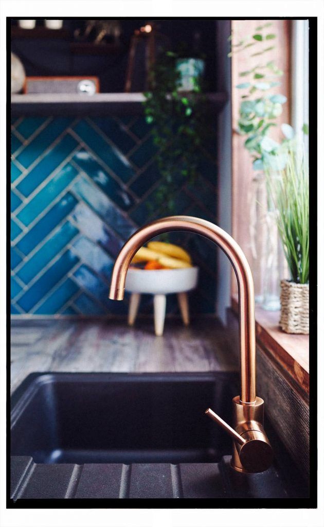 Brass mixer tap in our renovated kitchen