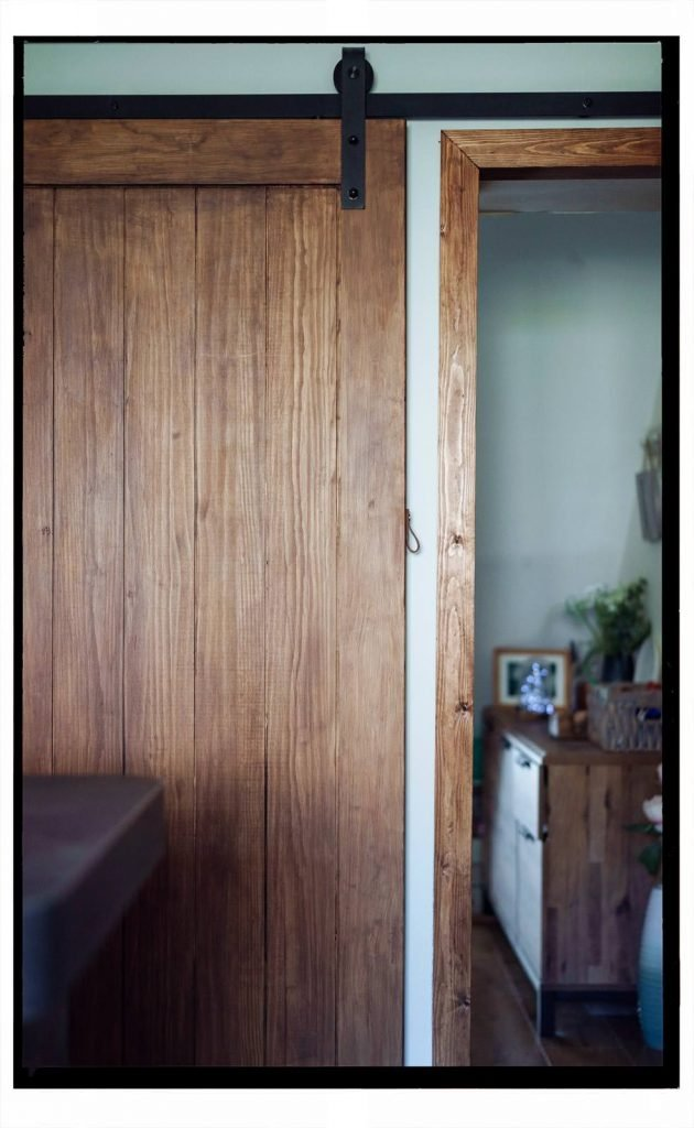 Rustic sliding barn door in our renovated kitchen