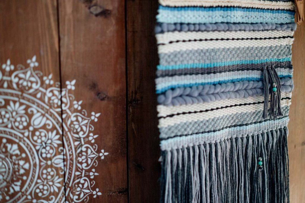 Loom weaving wall hangings with silk and merino yarn
