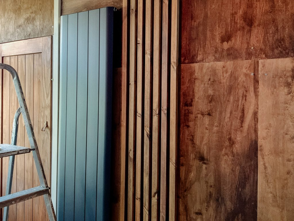 building a DIY timber slat acoustic feature wall