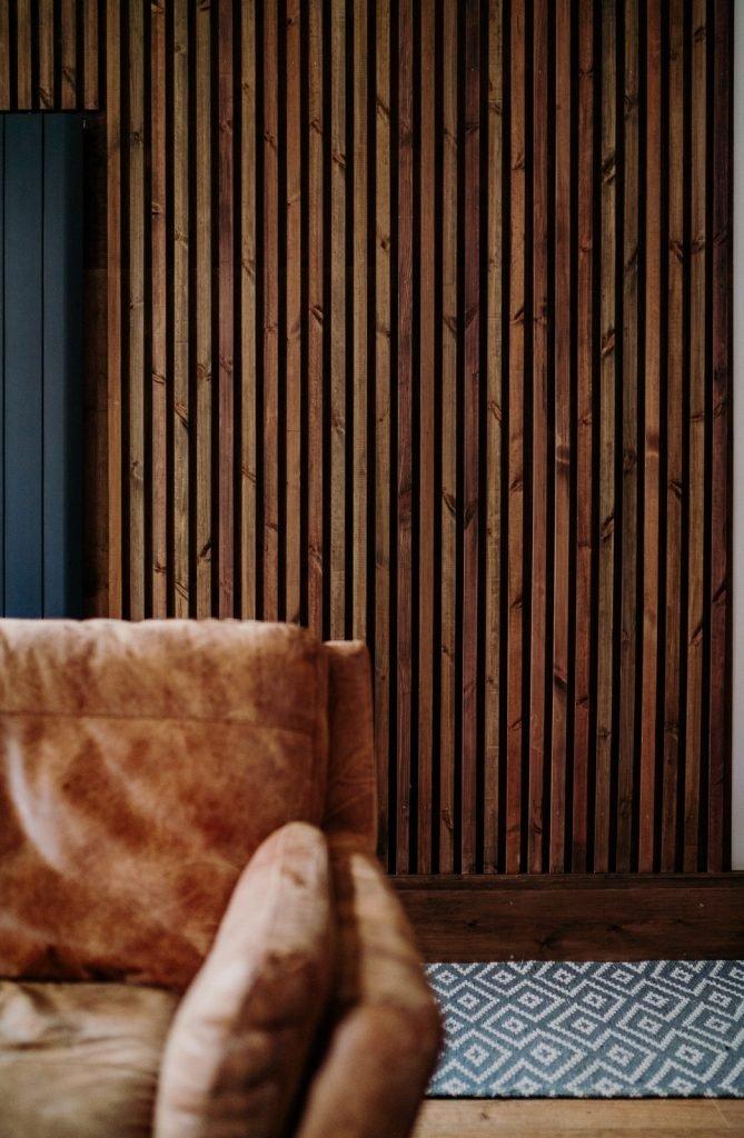 interior vertical wood slats wall