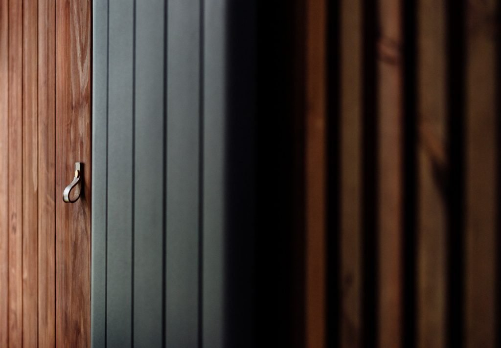modern wood slat accent wall