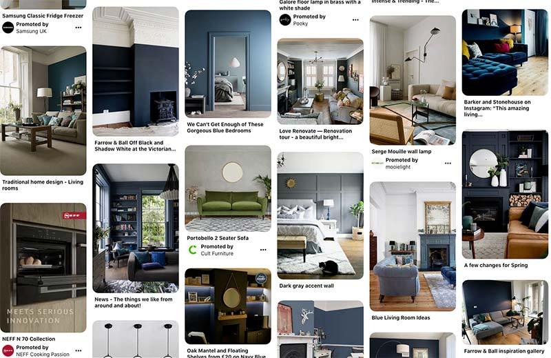 blue feature wall living room inspiration